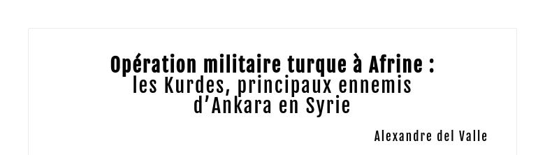 Opération militaire turque à Afrine :les Kurdes, principaux ennemisd'Ankara en Syrie Alexandre de...