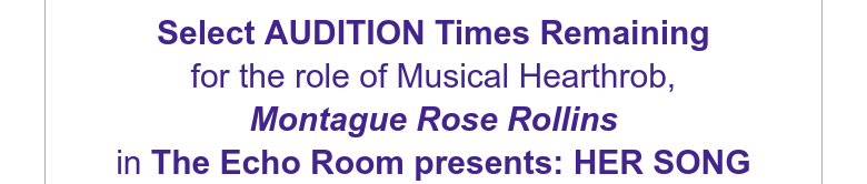 Select AUDITION Times Remainingfor the role of Musical Hearthrob,Montague Rose Rollinsin The Echo...